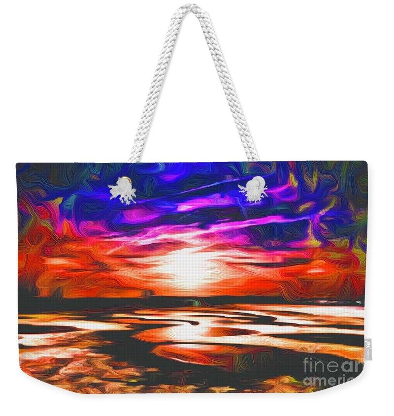 Landscape Weekender Tote Bag featuring the digital art Sands Beach by Michael Stothard