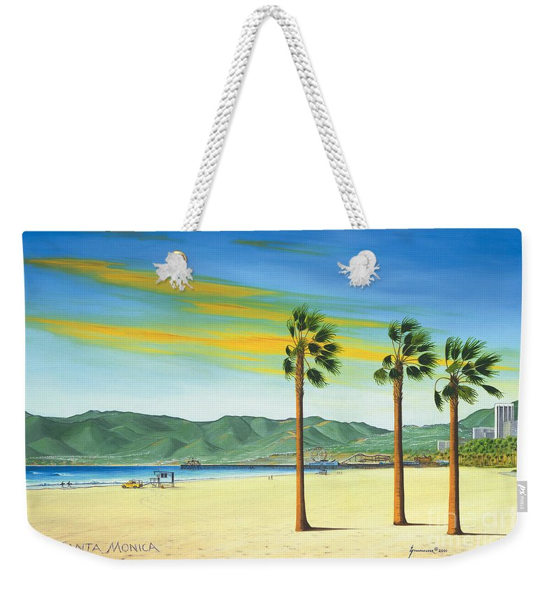 Santa Monica Weekender Tote Bag featuring the painting Santa Monica by Jerome Stumphauzer