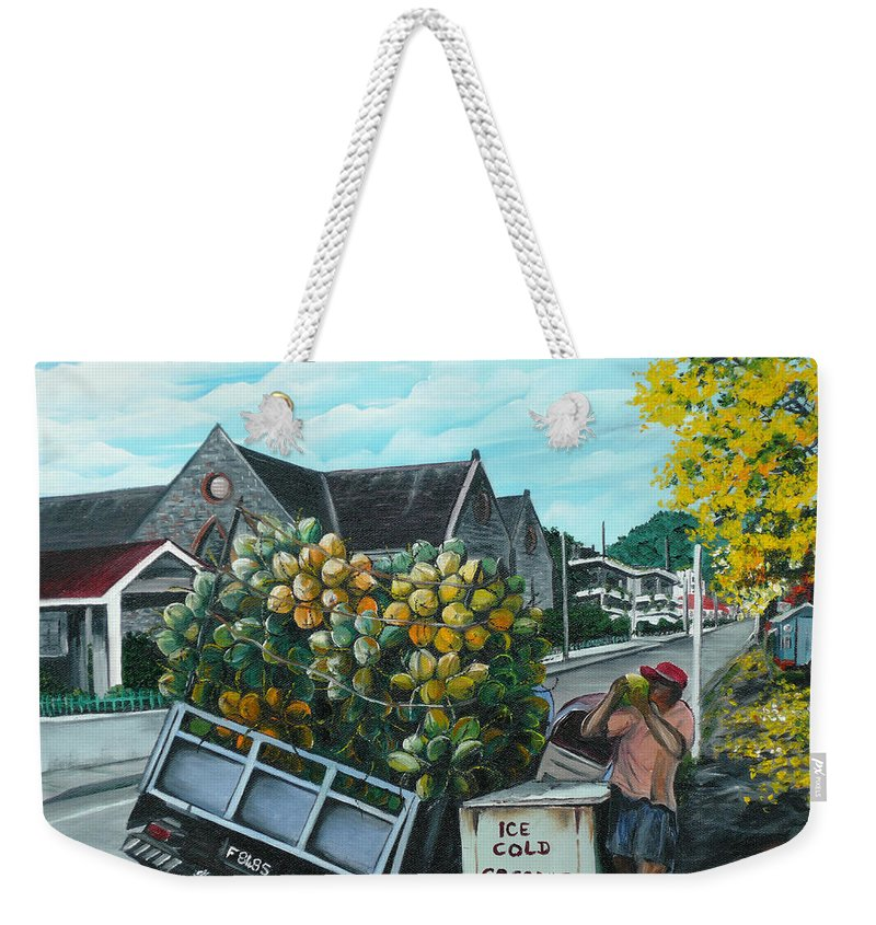 Caribbean Painting Coconuts Vendor Trinidad And Tobago Painting Savannah Paintings  Poui Tree Painting Tropical Painting Weekender Tote Bag featuring the painting Savannah Coconut Vendor by Karin Dawn Kelshall- Best