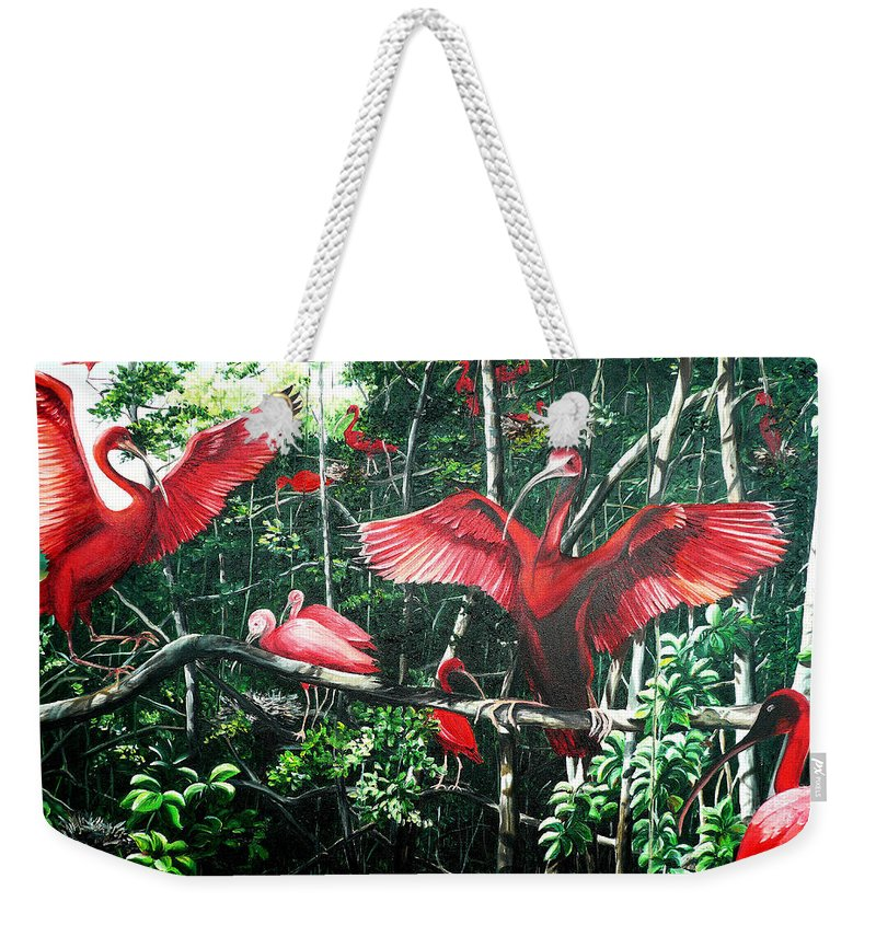 Caribbean Painting Scarlet Ibis Painting Bird Painting Coming Home To Roost Painting The Caroni Swamp In Trinidad And Tobago Greeting Card Painting Painting Tropical Painting Weekender Tote Bag featuring the painting Scarlet Ibis by Karin Dawn Kelshall- Best