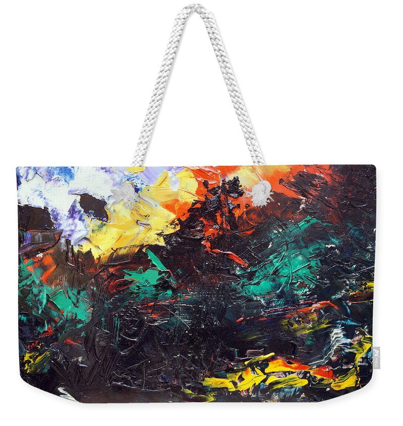 Vision Weekender Tote Bag featuring the painting Schizophrenia by Sergey Bezhinets