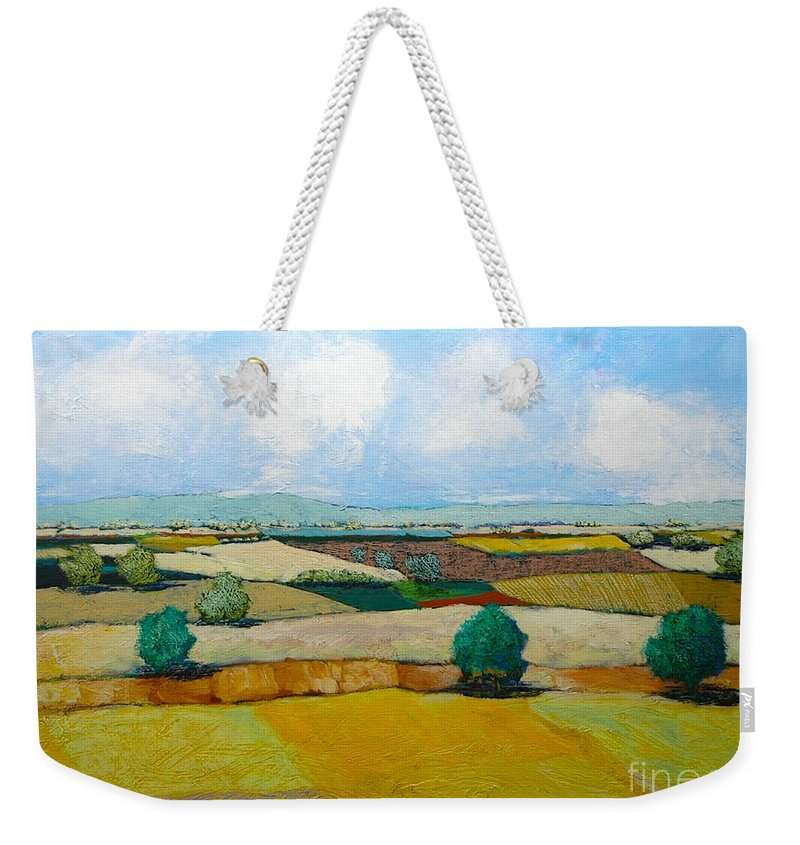 Landscape Weekender Tote Bag featuring the painting Sears Point by Allan P Friedlander