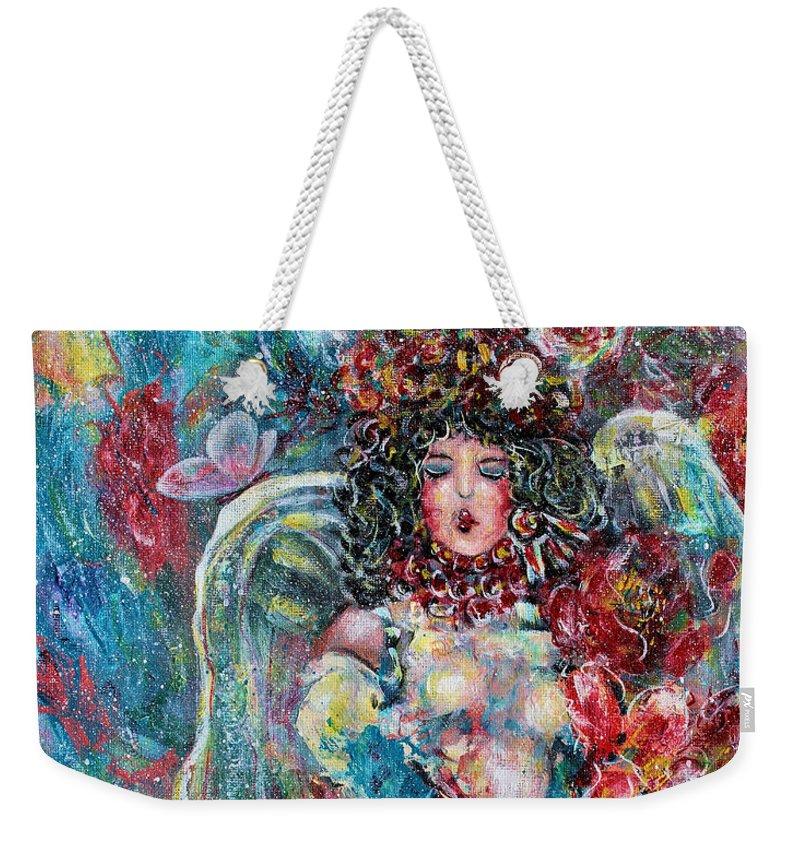 Angels Weekender Tote Bag featuring the painting Secret Garden Singing Angel 8 by Natalie Holland