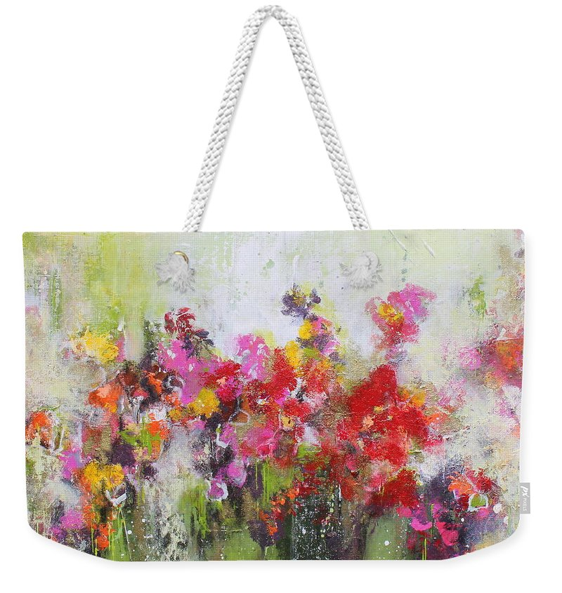 Flowers Weekender Tote Bag featuring the mixed media Seeds of love by Claudia Gantenbein