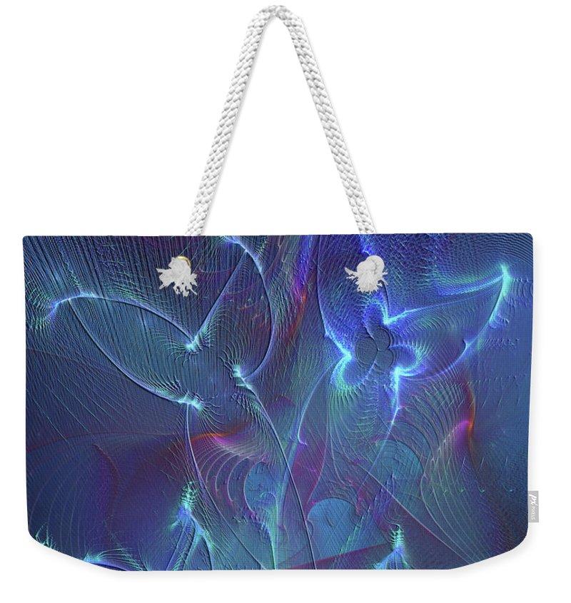 Affordable Art Weekender Tote Bag featuring the digital art Seraphim Blue by John Robert Beck