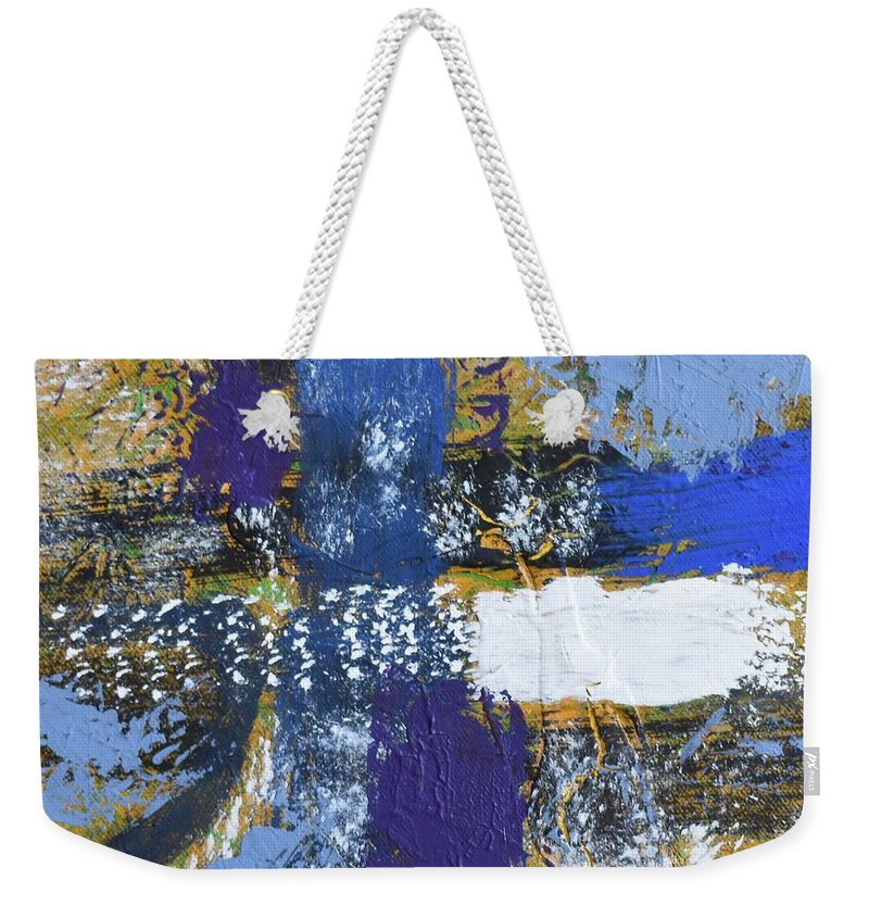 Blue Weekender Tote Bag featuring the painting Series 1 Right Side by Pam Roth O'Mara