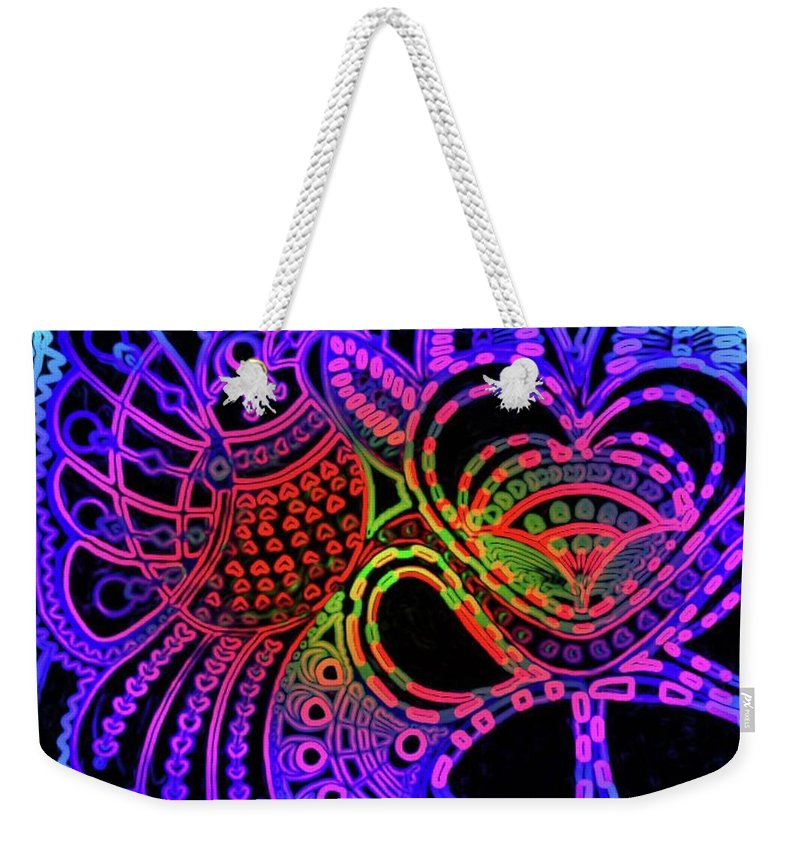 Birds Weekender Tote Bag featuring the painting Shahi Bird in the night by Fareeha Khawaja