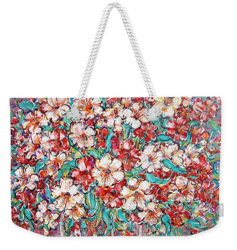 Flowers Weekender Tote Bag featuring the painting Shakespeare Scents by Natalie Holland
