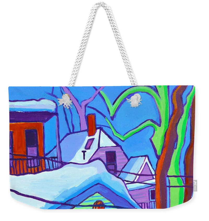 Buildings Weekender Tote Bag featuring the painting Sheffield Winter by Debra Bretton Robinson