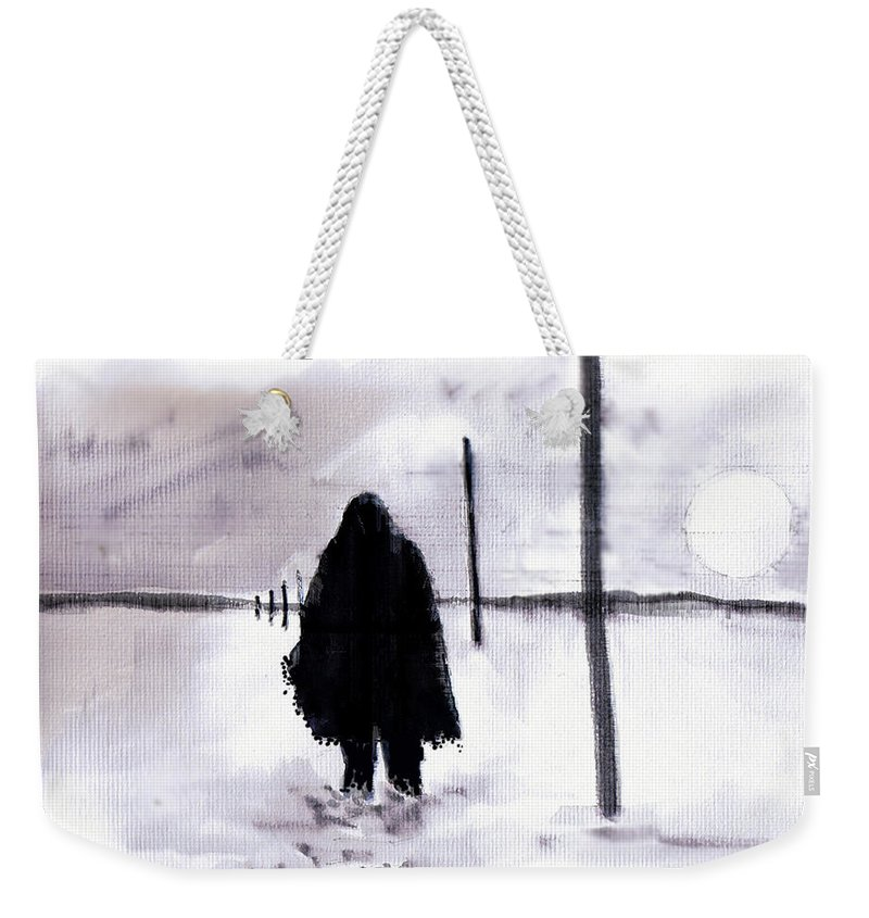 Siberia Weekender Tote Bag featuring the drawing Siberian Stroll-Dr. Zhivago by Seth Weaver