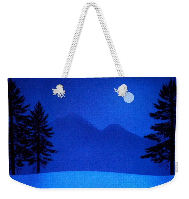 Night Weekender Tote Bag featuring the painting Sierra Moon by Frank Wilson