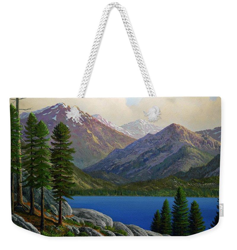 Landscape Weekender Tote Bag featuring the painting Sierra Views by Frank Wilson