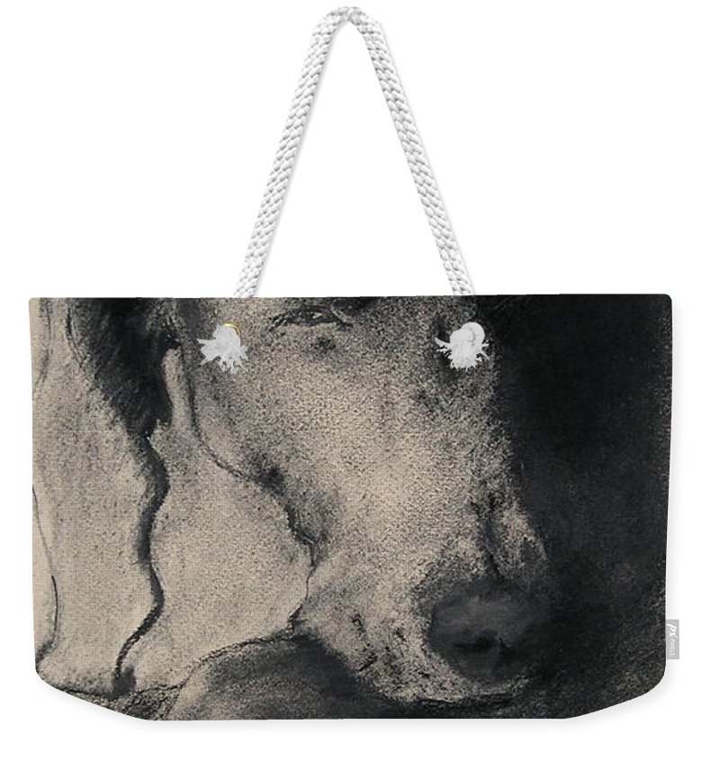Weimaraner Weekender Tote Bag featuring the drawing Silhouette by Cori Solomon