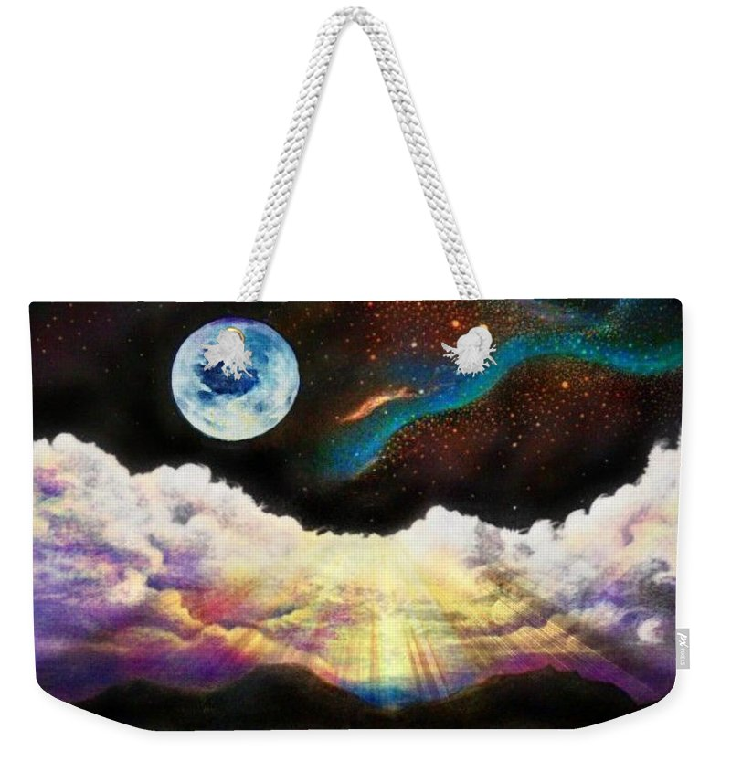 Water Weekender Tote Bag featuring the drawing Silver Lake Sunset by David Neace