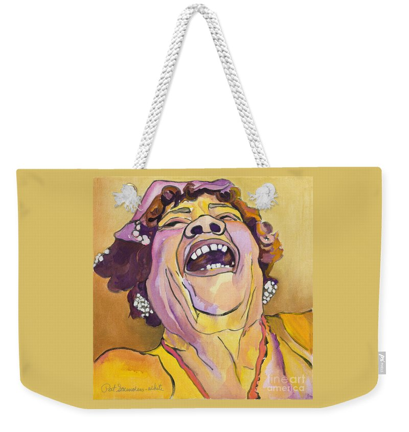 Pat Saunders-white Weekender Tote Bag featuring the painting Singing The Blues by Pat Saunders-White