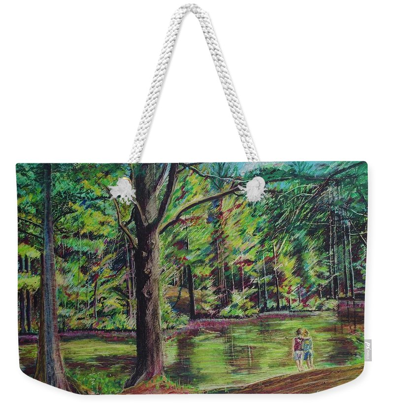 Family Weekender Tote Bag featuring the pastel Sisters At Wason Pond by Sean Connolly
