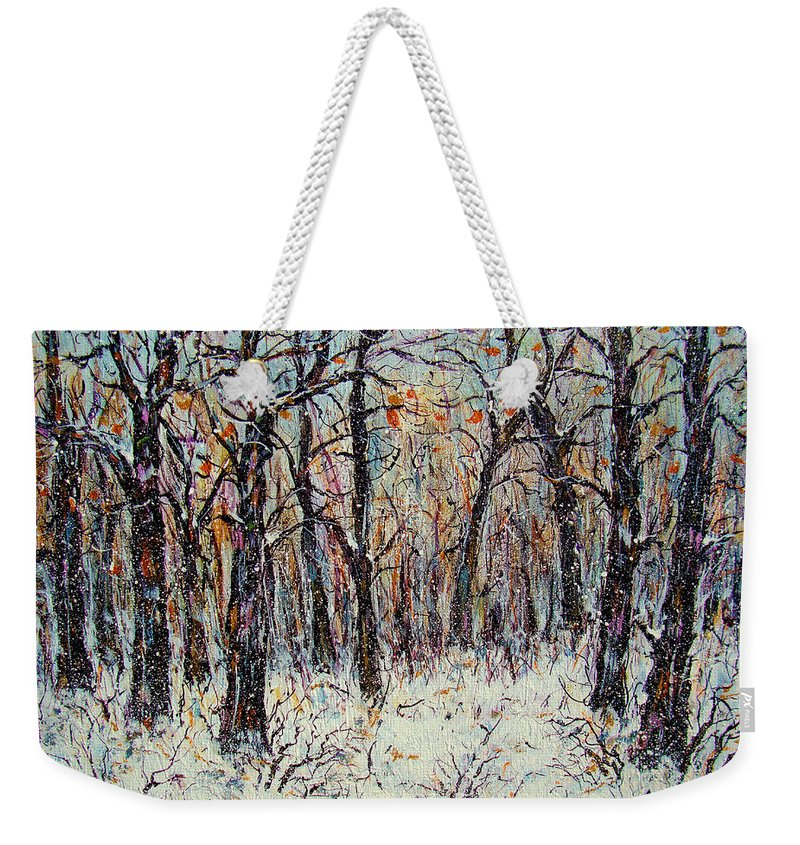 Landscape Weekender Tote Bag featuring the painting Snowing In The Forest by Natalie Holland