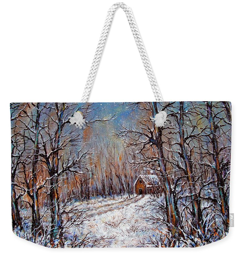 Landscape Weekender Tote Bag featuring the painting Snowing in the Woods by Natalie Holland