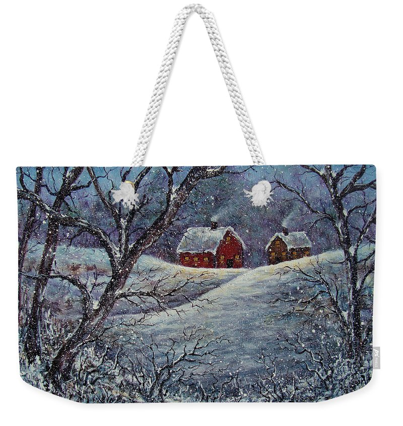 Landscape Weekender Tote Bag featuring the painting Snowy Day by Natalie Holland