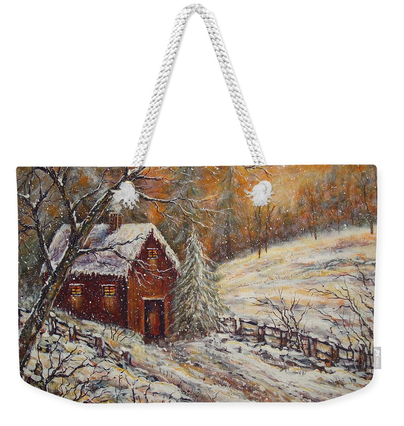 Landscape Weekender Tote Bag featuring the painting Snowy Sunset by Natalie Holland