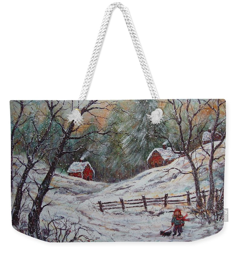 Landscape Weekender Tote Bag featuring the painting Snowy Walk. by Natalie Holland
