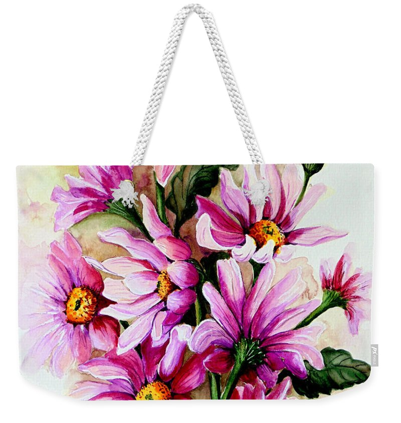 Pink Daisy Floral Painting Flower Painting Botanical Painting Bloom Painting Greeting Card Painting Weekender Tote Bag featuring the painting So Pink by Karin Dawn Kelshall- Best