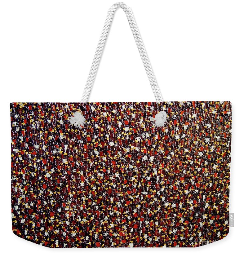 Abstract Weekender Tote Bag featuring the painting Soft Black with Buff and Terra Cotta by Dean Triolo