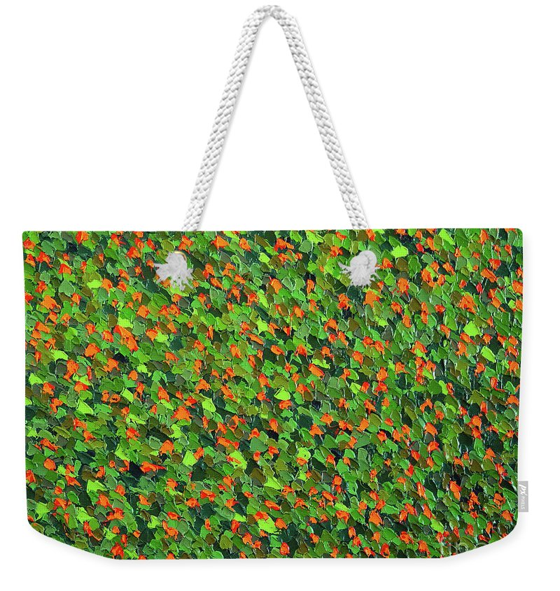 Abstract Weekender Tote Bag featuring the painting Soft Green with Cadmium Red by Dean Triolo