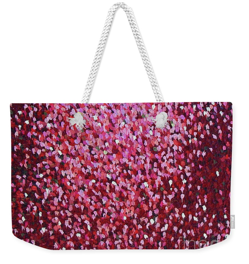 Abstract Weekender Tote Bag featuring the painting Soft Red by Dean Triolo