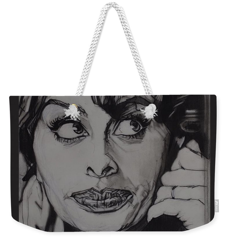 Charcoal On Paper Weekender Tote Bag featuring the drawing Sophia Loren Telephones by Sean Connolly