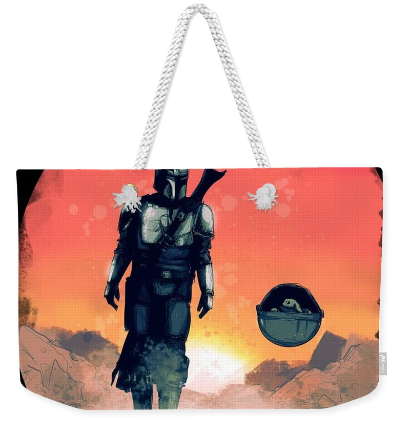 Mando Weekender Tote Bag featuring the drawing Space Dad by Ludwig Van Bacon