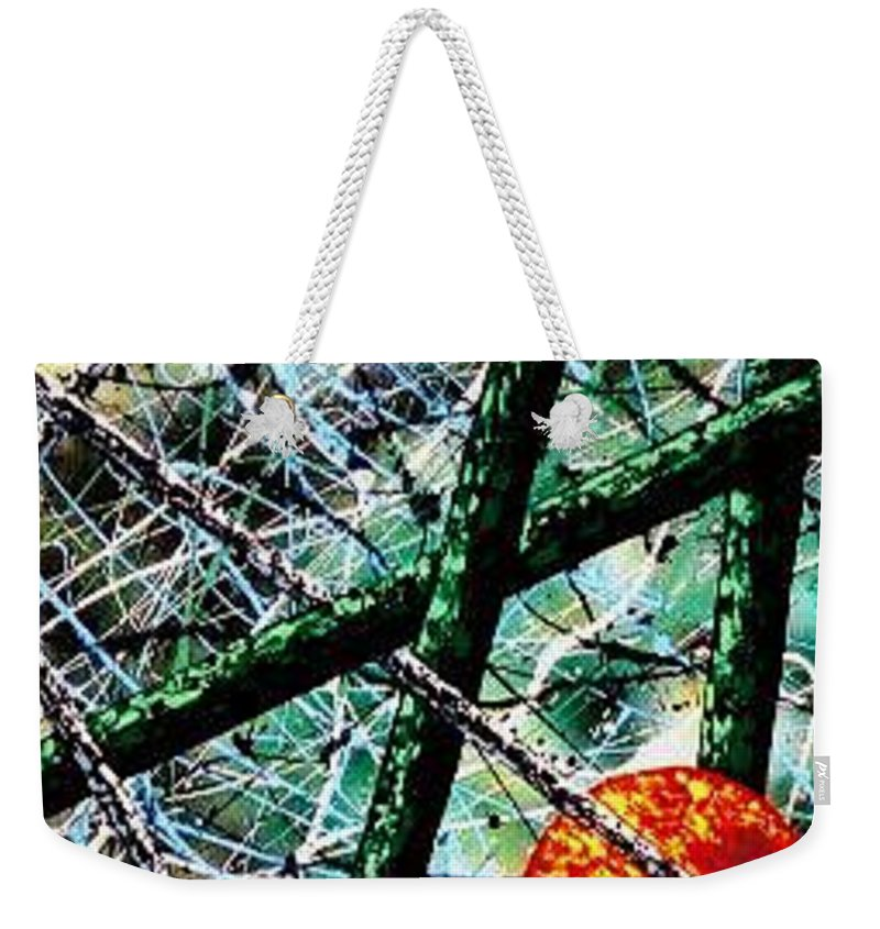 Contemporary / Abstract Weekender Tote Bag featuring the painting Space-Time Continuum by Micah Guenther