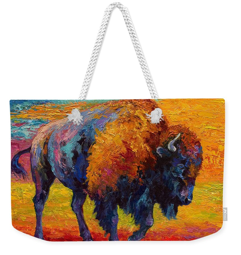 Bison Weekender Tote Bag featuring the painting Spirit Of The Prairie by Marion Rose