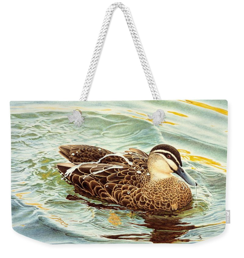 Watercolour Birds Weekender Tote Bag featuring the painting Splash - Pacific Black Duck by Frances McMahon