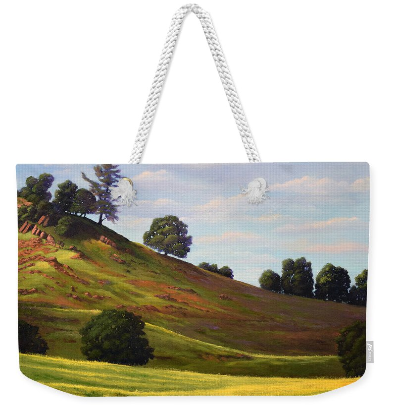 Landscape Weekender Tote Bag featuring the painting Spring Day by Frank Wilson