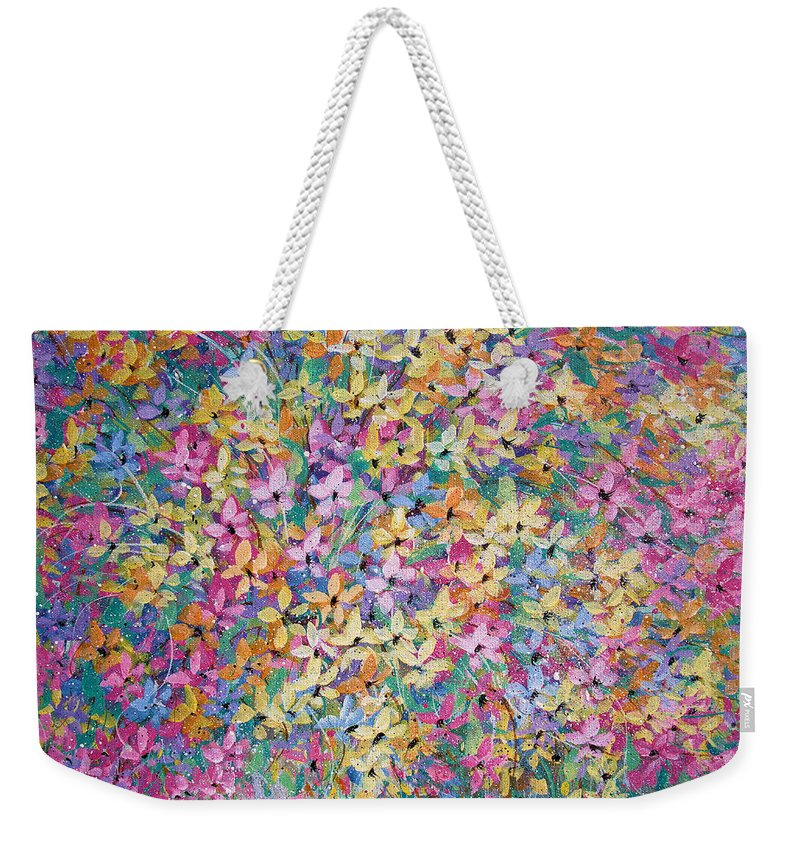 Flowers Weekender Tote Bag featuring the painting Spring floral bouquet. by Natalie Holland