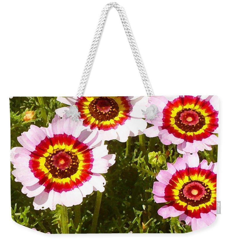 Wildflower Weekender Tote Bag featuring the painting Spring Wildflowers by Amy Vangsgard