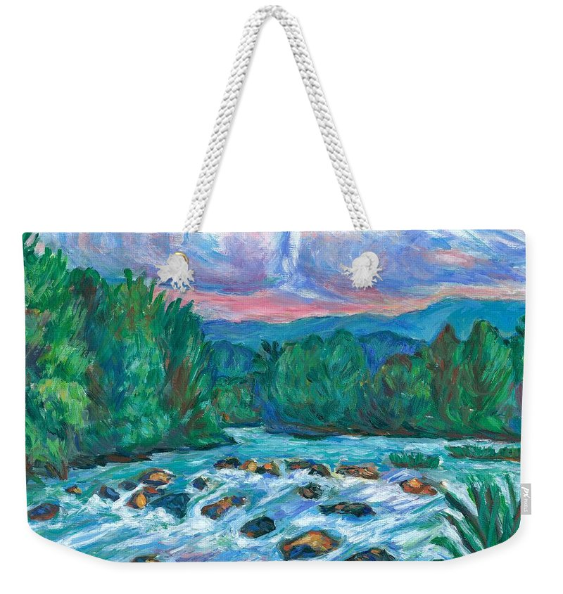 Landscape Weekender Tote Bag featuring the painting Stepping Stones on the New River by Kendall Kessler