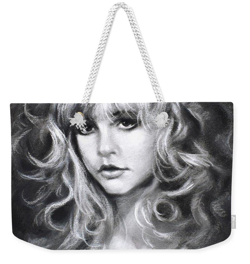 Stevie Nicks Weekender Tote Bag featuring the drawing Stevie Nicks by Ylli Haruni