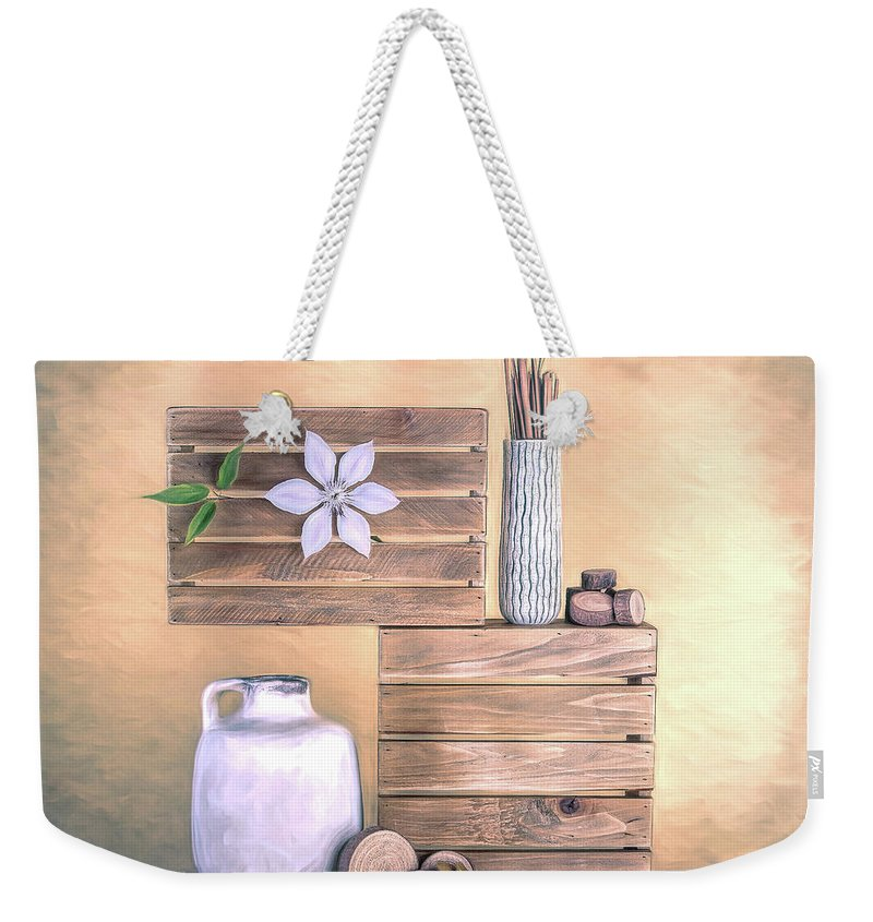 Jug Weekender Tote Bag featuring the photograph Still Life With Wood by Tom Mc Nemar