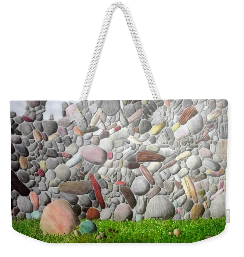 Stones Weekender Tote Bag featuring the painting Stoned Wall by A Robert Malcom