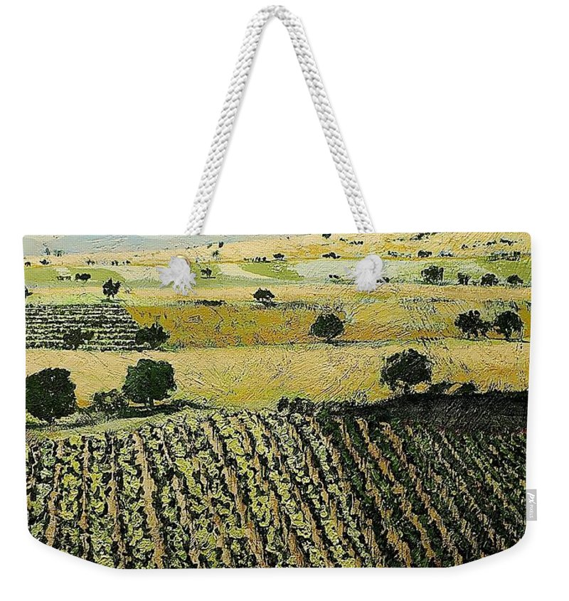 Landscape Weekender Tote Bag featuring the painting Storms Over by Allan P Friedlander