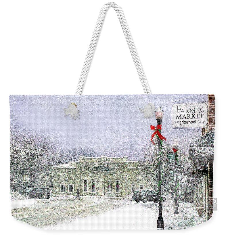 Snow Scene Weekender Tote Bag featuring the photograph Strang Car Barn in Winter by Steve Karol