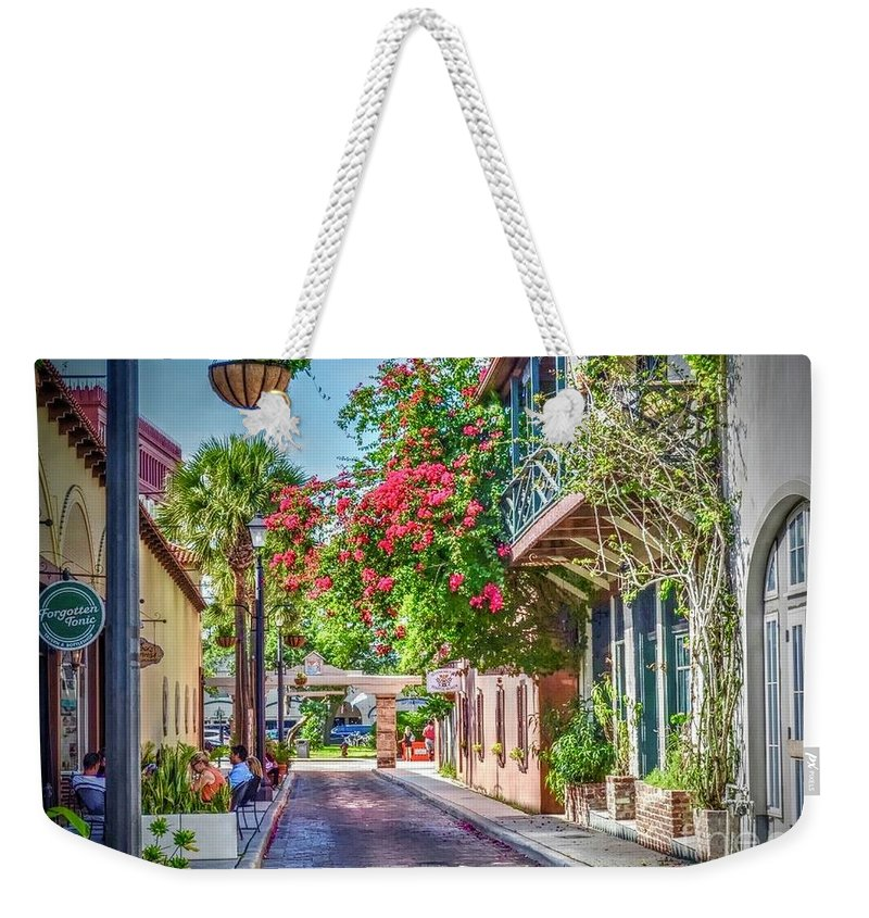 St. Augustine Weekender Tote Bag featuring the photograph Street of St. Augustine by Debbi Granruth