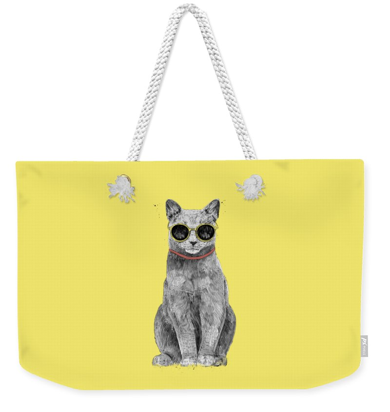 Cat Weekender Tote Bag featuring the drawing Summer Cat by Balazs Solti