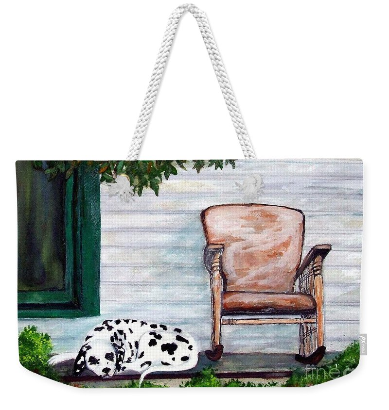 Dog Weekender Tote Bag featuring the painting Summer Evening by Jacki McGovern