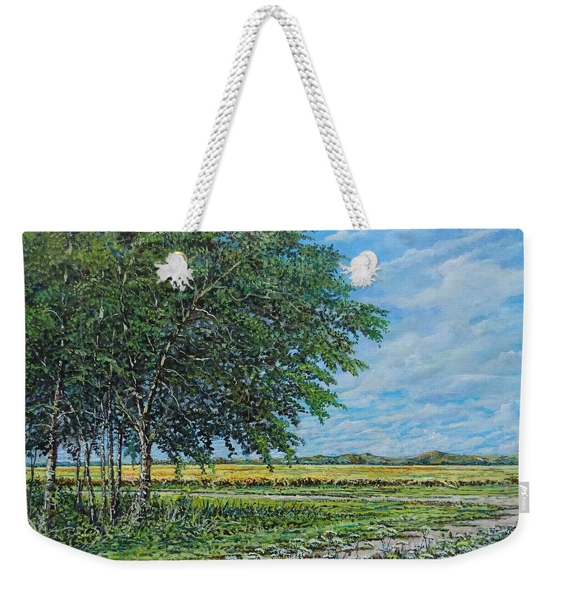 Landscape Weekender Tote Bag featuring the painting Summer Field by Sinisa Saratlic