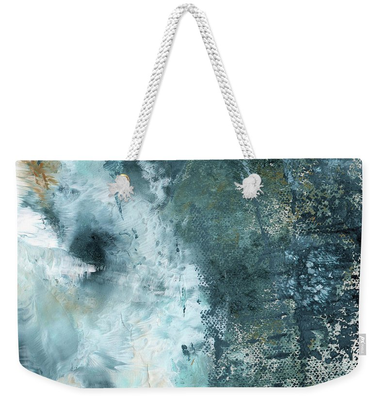 Abstract Weekender Tote Bag featuring the painting Summer Storm- Abstract Art by Linda Woods by Linda Woods