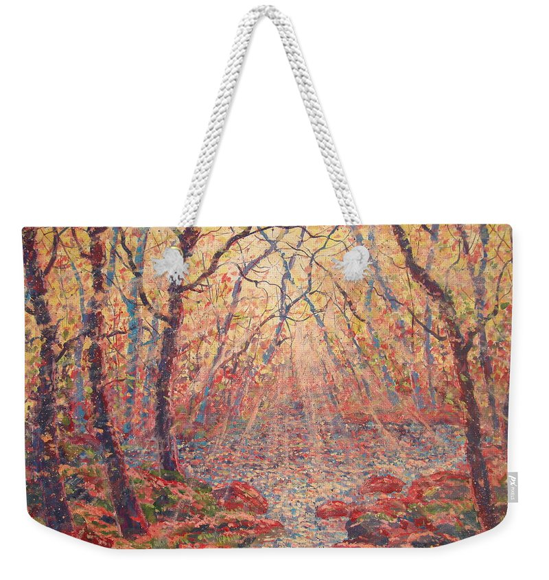 Painting Weekender Tote Bag featuring the painting Sun Rays Through The Trees. by Leonard Holland
