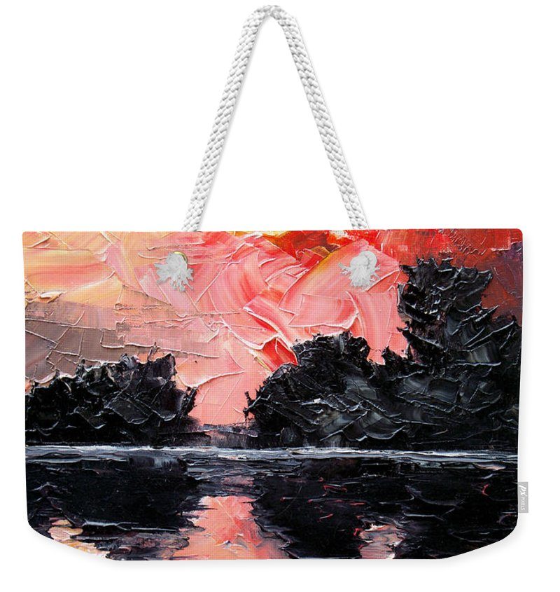 Lake After Storm Weekender Tote Bag featuring the painting Sunset. After storm. by Sergey Bezhinets